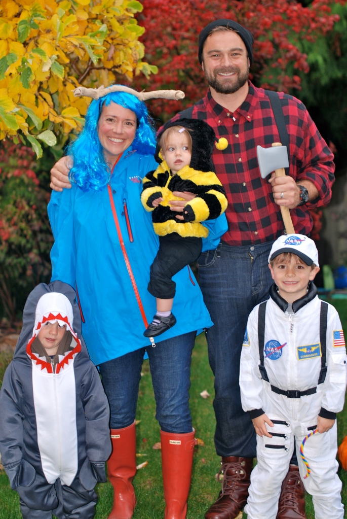 Halloween 2012Paul Bunyan and Babe the Blue Ox with Bumblebee, Shark and Astronaut
